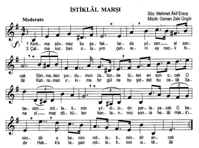 İstiklâl Marşının Flüt Notaları